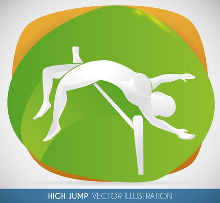 Silhouette de l'athlète de saut en hauteur passant à la barre et prêt à établir un nouveau record du monde. Banque d'images - 73992037
