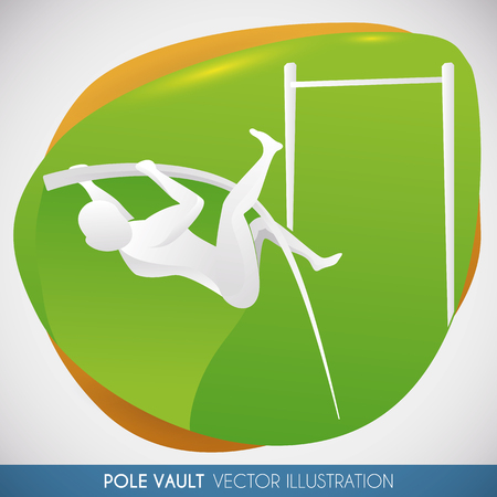contestant: Sign with athlete silhouette in pole vault event. Illustration