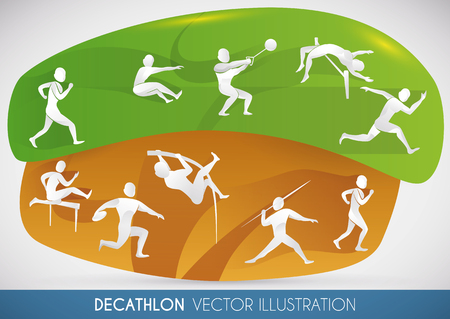 Decathlon design showing all disciplines played in the two-day competition: 100 metres, long jump, shot put, high jump, 400 metres, 110 metres hurdles, discus throw, pole vault, javelin throw, 1500 metres.