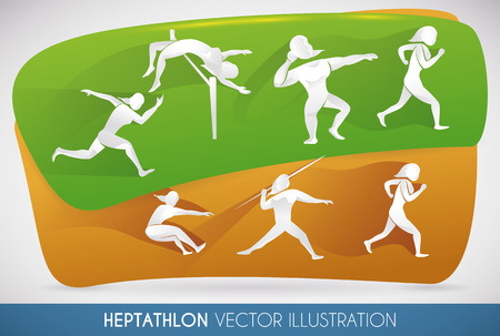 shot put: Heptathlon design showing all disciplines played by women in two-day event.