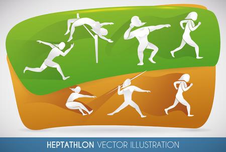 lanzamiento de jabalina: Heptatlón diseño que muestra todas las disciplinas que desempeña la mujer en el evento de dos días.