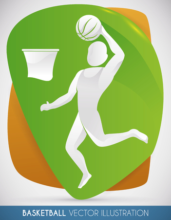 Design with a basketball player jumping high up and scoring the final point winning the match.