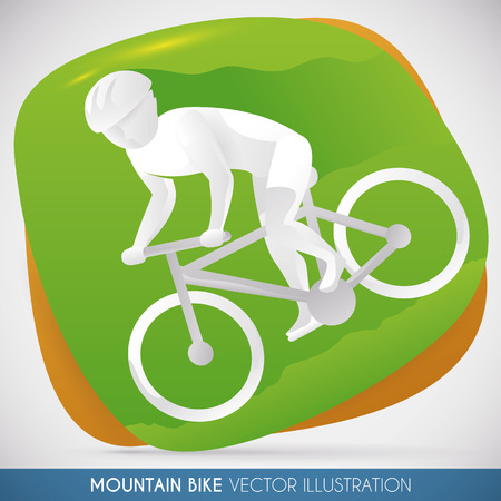 Specialist mountain biker going downhill in cross country track. Illustration