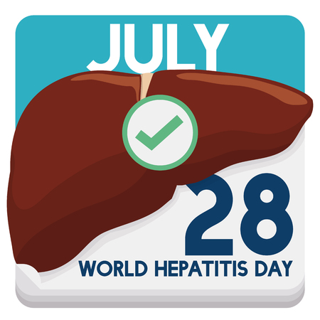 reminding: Calendar reminding you the World Hepatitis Day and inviting you to take care of your liver and health.