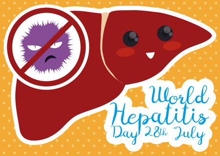 Liver with cute face saying NO to Hepatitis, commemorating the date against this disease in flat style.