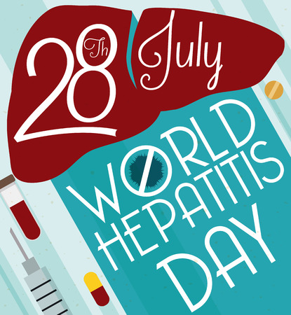 hepatitis prevention: Design with reminder date of World Hepatitis Day with a silhouette of a liver and some prevention and treatment elements: syringe, blood vial and pills.