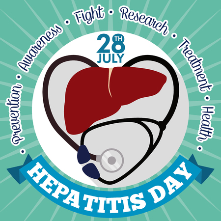 reminding: Awareness poster for World Hepatitis Day with stethoscope like a heart reminding you the care, awareness and prevention of this disease. Illustration
