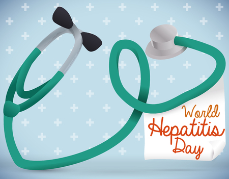 hepatitis prevention: Stethoscope forming a liver shape with a paper to commemorate World Hepatitis Day.