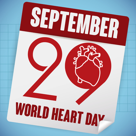 looseleaf: Poster with loose-leaf calendar reminder date of World Heart Day this 29th September. Illustration