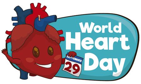 looseleaf: Banner with cute heart holding a loose-leaf calendar with special date in 29th September for World Heart Day. Illustration