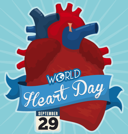 looseleaf: Poster with giant heart decorated with a blue ribbon and a loose-leaf calendar with reminder date of World Heart Day in September 29.