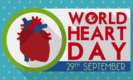 commemorative: Commemorative banner with healthy heart in flat style and greeting message to remind you the World Heart Day date.