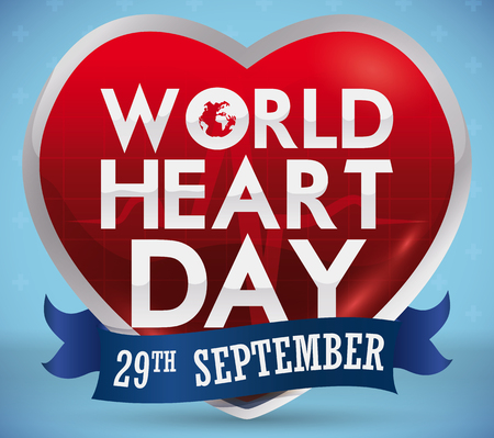 Poster with shiny heart shape with greeting text and reminder date in blue ribbon for World Heart Day in September 29. Illustration