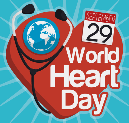 looseleaf: Commemorative design for World Heart Day with giant heart symbol, stethoscope, globe and loose-leaf calendar reminder.