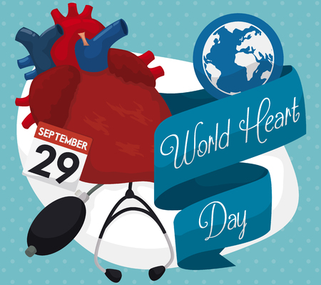 looseleaf: Set of elements for good heart health: stethoscope, sphygmomanometer, loose-leaf calendar, globe, ribbons and human heart commemorating World Heart Day in September 29.