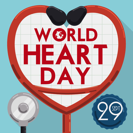 long recovery: Greeting design in flat style commemorating World Heart Day with red stethoscope with heart shape and date reminder.
