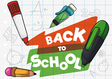 Cute kids drawings and doodles in a paper with a pencil and markers to Back to School season. Illustration