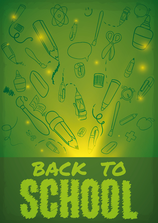 glows: A lot of school elements in doodle style with glowing lights in Back to School poster.