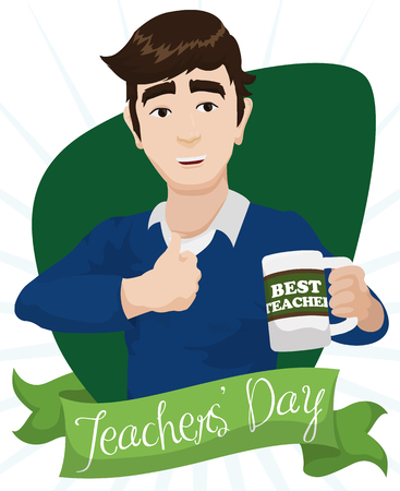 commemoration day: Smiling young educator celebrating with his new mug with greeting message as best teacher in his day. Illustration
