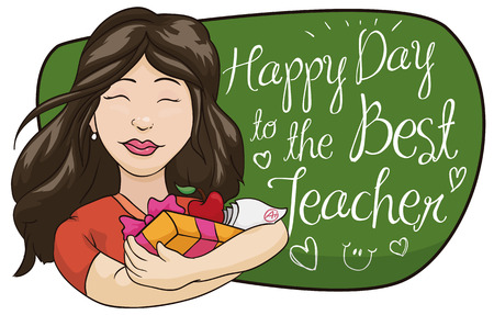 Pretty female teacher receives gifts from her students in Teachers Day. Illustration