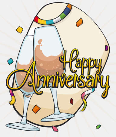 event party: Poster with a pair of elegant wine glasses for the Anniversary party with streamers and confetti. Illustration