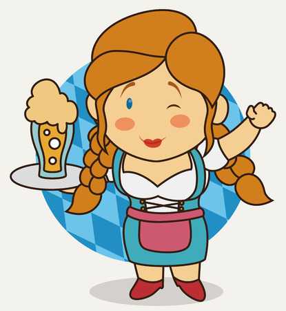 Little cute Bavarian waitress winking at you and holding a frothy beer in cartoon style.