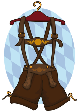 Lederhosen (traditional German male clothes) in a hanger for Oktoberfest celebration ready to be used for a manly Bavarian man. Illustration