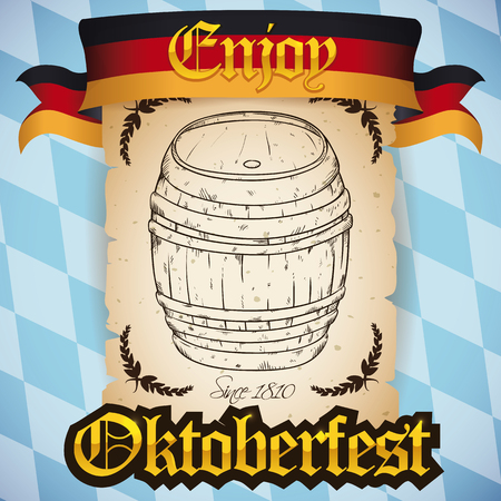Retro scroll with beer barrel in hand drawn style ready to be opened for Oktoberfest celebration with the flag of Germany.