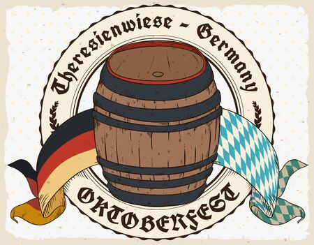 Poster with closed beer barrel decorated with Germany and lozenge Bavaria flag to commemorate Oktoberfest.