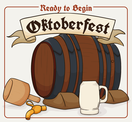 brewed: Poster with mallet, tap and closed beer barrel ready to be opened in the celebration of Oktoberfest.