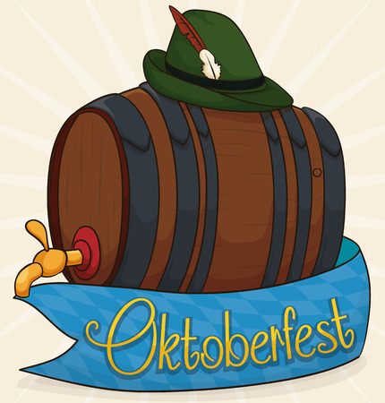 Commemorative poster with traditional beer barrel, lozenge ribbon around it and felt hat with feathers in the top ready to celebrate Oktoberfest. Ilustrace