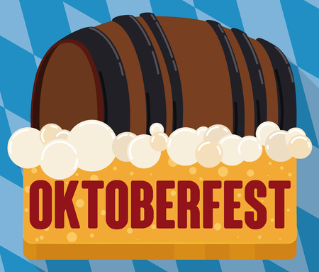Traditional beer barrel for Oktoberfest floating in beer froth in the top of yellow flat button.