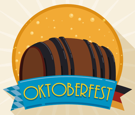 Poster in flat style with beer barrel decorated with a double edge ribbon in the tip Germany colors in the other tip Bavaria colors and bubbly rounded circle commemorating Oktoberfest celebration. Illustration