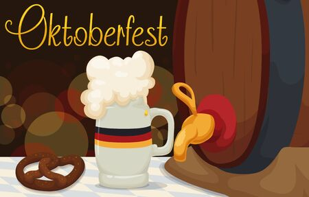 brewed: Traditional food and drinks for Oktoberfest: pretzel and marzen beer in a stein and a keg in night scene for banner in cartoon style. Illustration