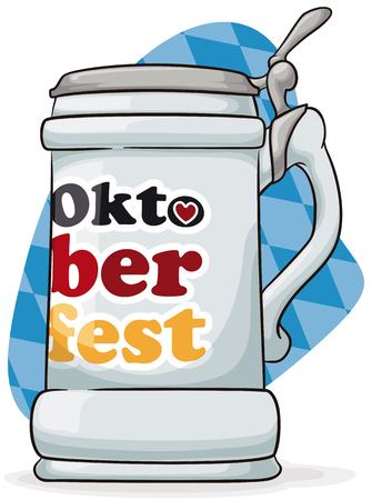 Poster with stein for Oktoberfest celebration with greeting message ready to be filled with frothy beer.