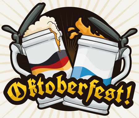 A pair of traditional stein making a toast to celebrate Oktoberfest with delicious beer.