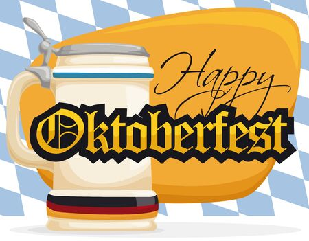 Stein with Germany flag ready for Oktoberfest with greeting sign and lozenge background. Illustration