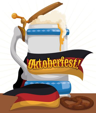 Poster with frothy beer in elegant porcelain stein with Germany flag like ribbon around it and a pretzel to celebrate Oktoberfest.