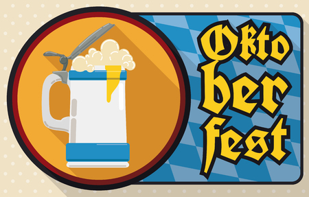brewed: Banner in flat style with round button with stein and frothy beer ready to Oktoberfest celebration and a sign with lozenge background commemorating Bavaria flag.