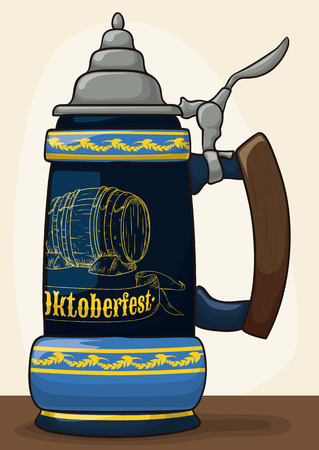 Traditional porcelain stein with a hand carved barrel design and pewter lid for Oktoberfest celebration event.