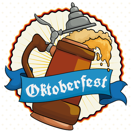 Poster with delicious frothy beer served in a traditional stein with a greeting ribbon around it to commemorate Oktoberfest.
