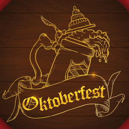 beer stein: Beauty golden carved frothy beer design decorated with a ribbon for Oktoberfest celebration in a wooden tap of a barrel. Illustration