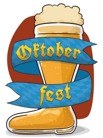 Poster with frothy beer boot and a ribbon around it with Bavaria flag design to celebrate Oktoberfest. Illustration