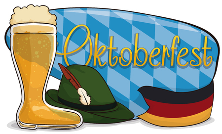 Banner with traditional elements for Oktoberfest: beer boot, felt hat with feathers and Germany flag like ribbon around a sign with lozenge design from Bavaria flag.