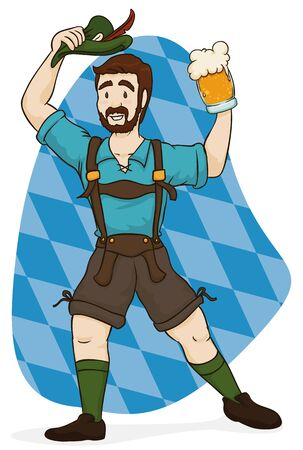 Festive man celebrating Oktoberfest in traditional Bavarian lederhosen leisurewear.