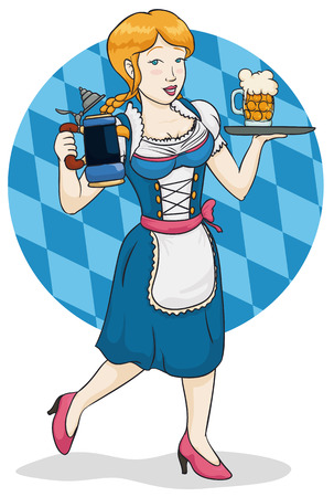 Smiling beautiful waitress in traditional dirndl serving the beers in classic stein and glass in Oktoberfest event.