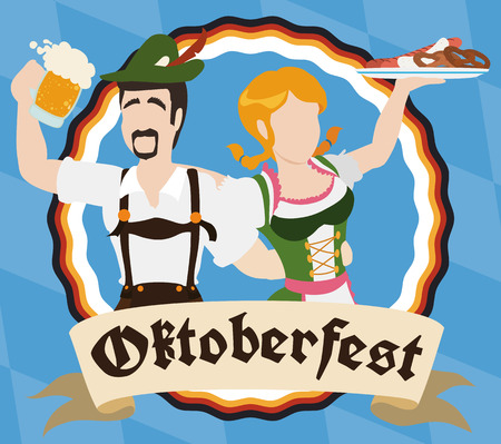 Bavarian couple in traditional clothes celebrating and having fun in Oktoberfest with the food and beer during the event.