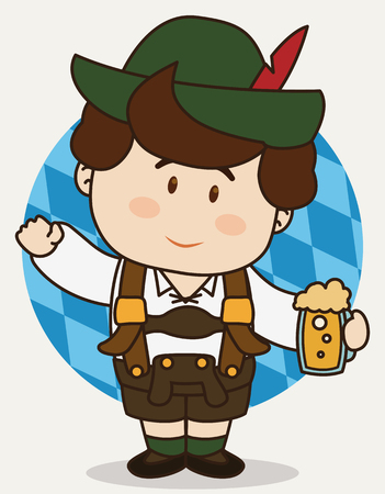 Little cute Bavarian wearing traditional lederhosen, holding a beer and saluting you in flat cartoon style.