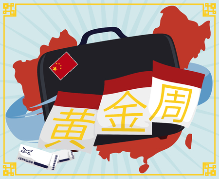 Poster with China's map in background with a travel bag and some plane tickets with calendar's loose-leaves commemorating Golden Week (written in simplified Chinese).