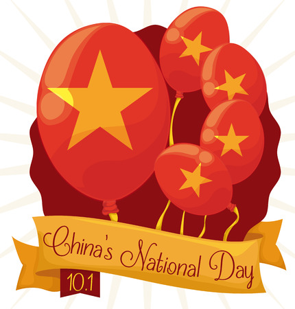 Commemorative red balloons with stars to celebrate Chinas National Day at October 1.